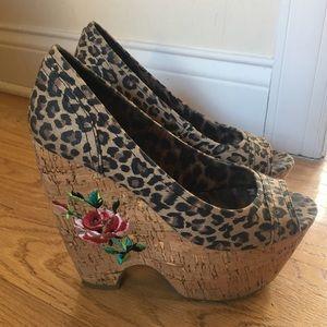 Betsey Johnson Cheetah Print Embroidered Heels